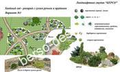 Ландшафтный дизайн с сухим ручьем
